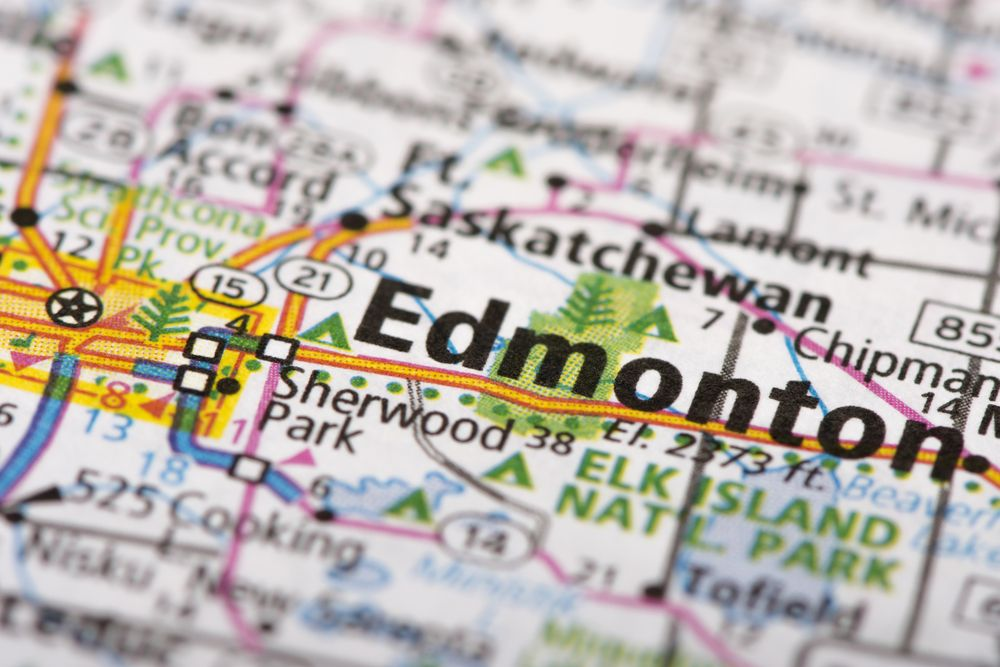 Close up view of Edmonton map